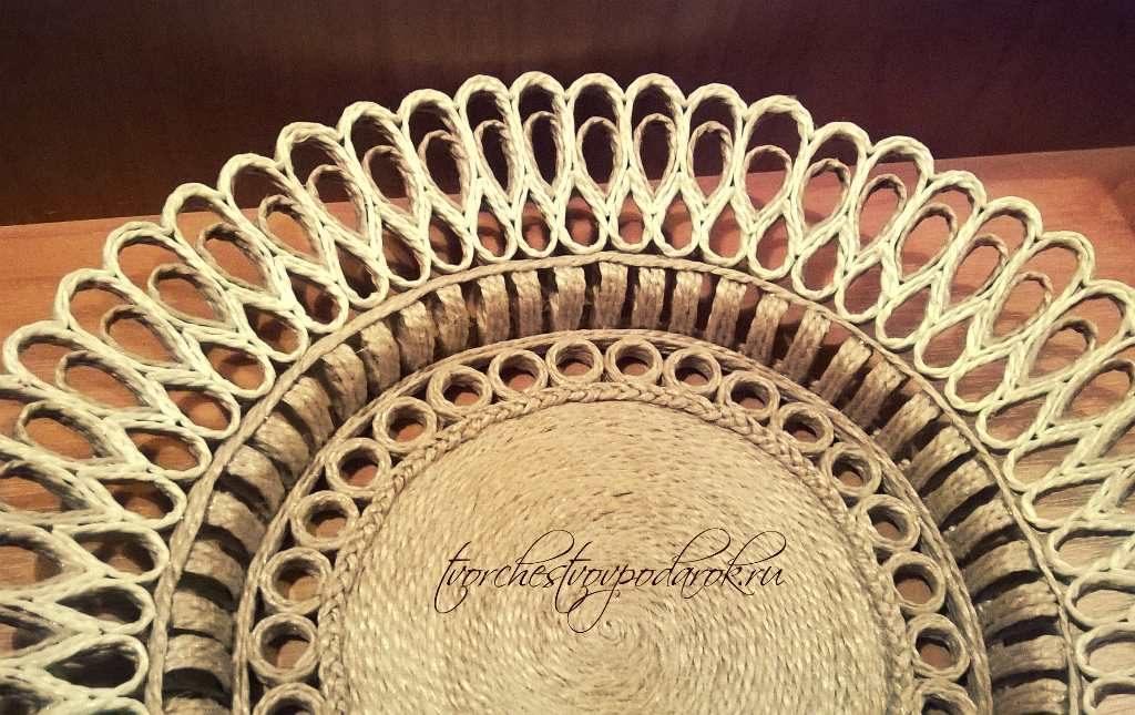 Декоративная тарелка на стену из джута своими руками