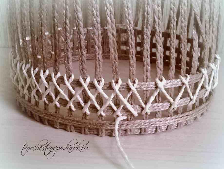 Шкатулки плетеные из шпагата мастер класс пошаговый #7