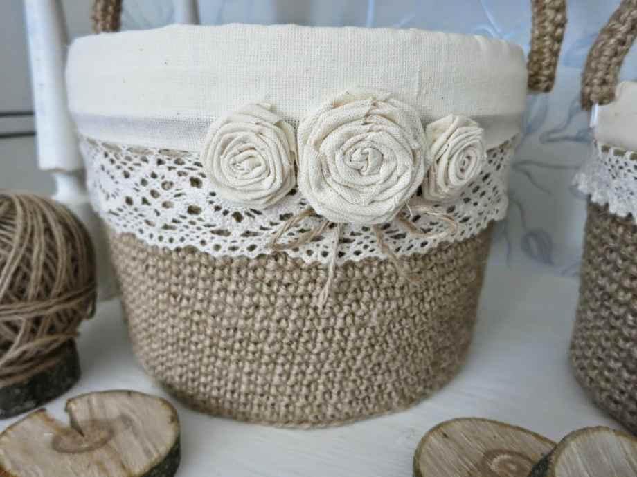 Плетение из джута корзин